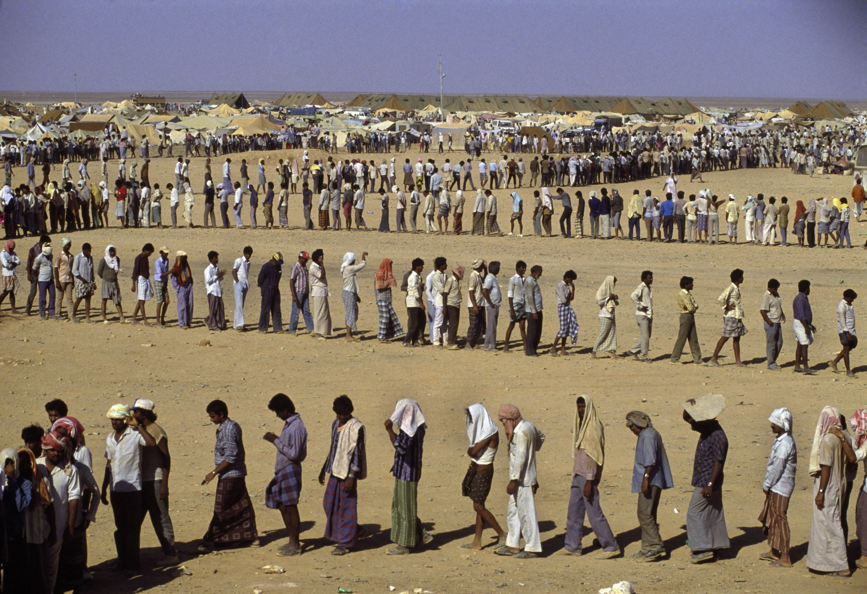 Refugees in the desert.  Jordan, 1990