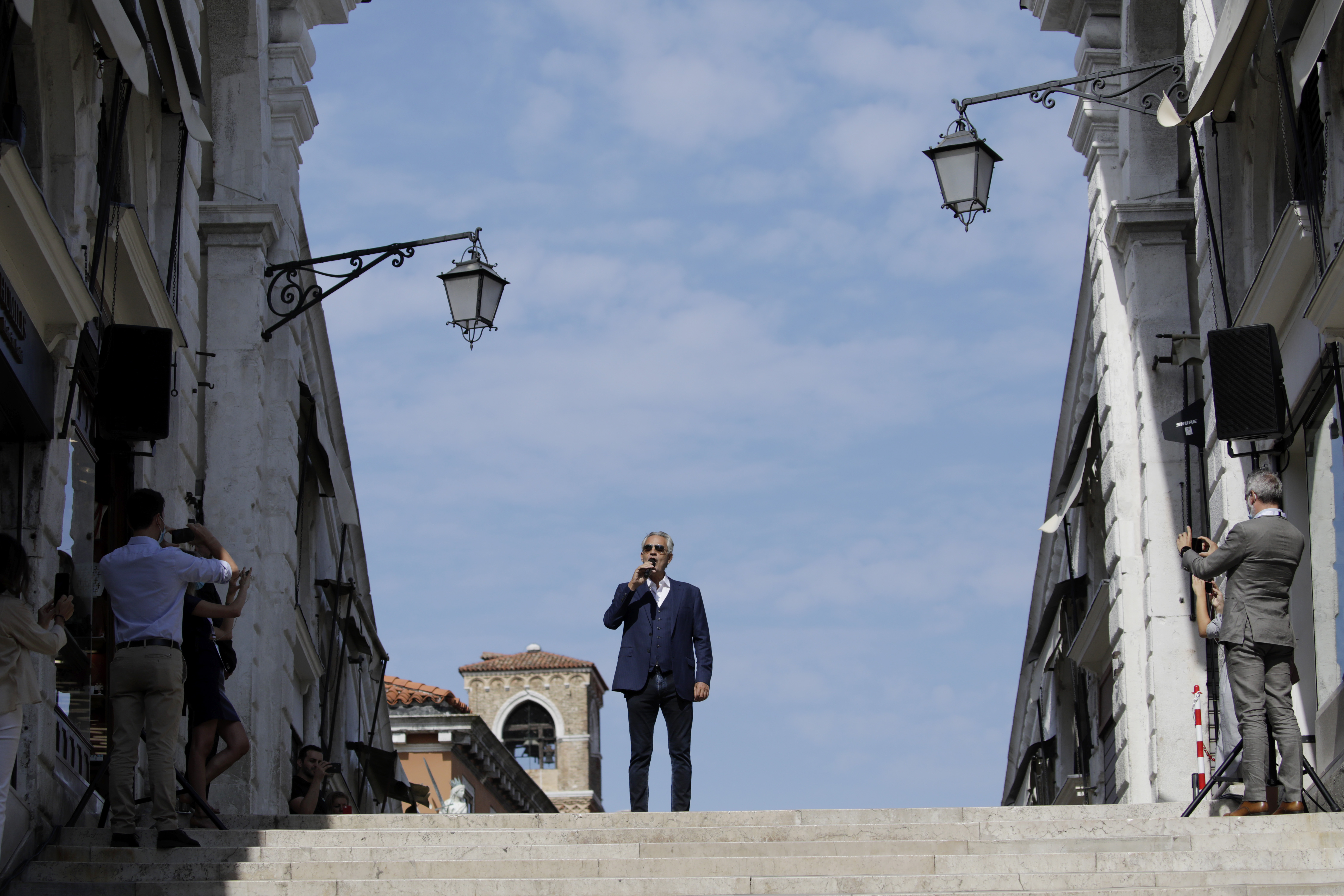 VENICE, ITALY - SEPTEMBER 07: attend the Inauguration of Rialto Bridge after OTB Restoration Works on September 07, 2021 in Venice, Italy. (Photo by John Phillips/Getty Images for OTB)
