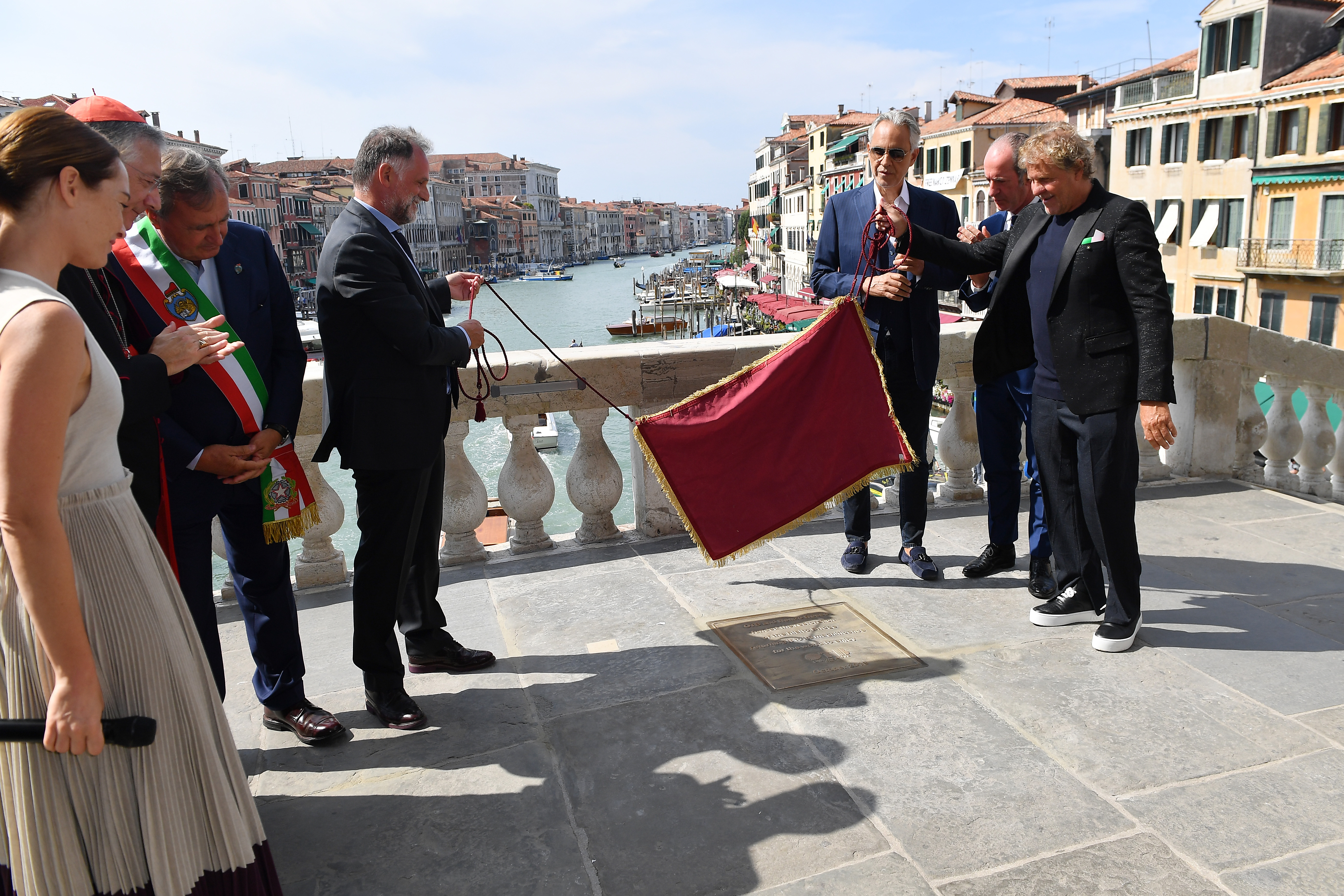 VENICE, ITALY - SEPTEMBER 07: attend the Inauguration of Rialto Bridge after OTB Restoration Works on September 07, 2021 in Venice, Italy. (Photo by Jacopo M. Raule/Getty Images for OTB)