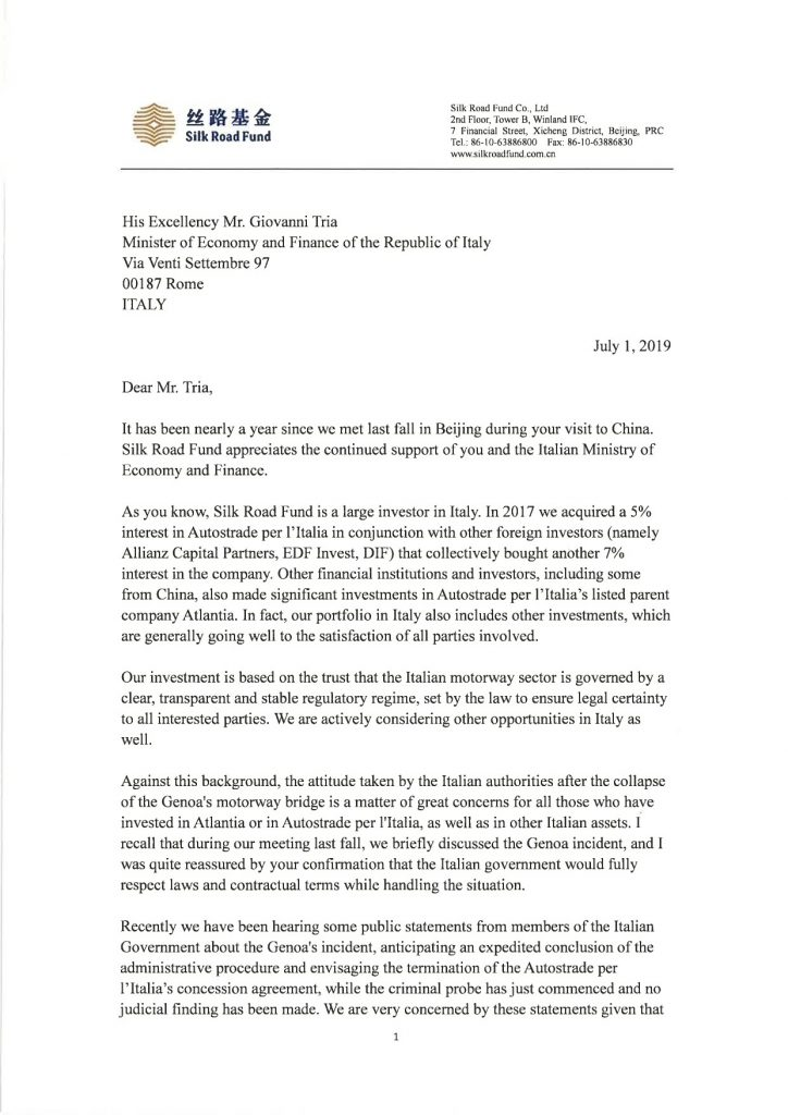 letter_to_h_e_prof_giovanni_tria_from_silk_road_fund_president_wang