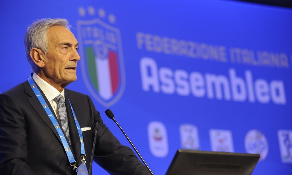 ROME, ITALY - OCTOBER 22:  The candidate Gabriele Gravina attends the Italian Football Federation (FIGC) elective assembly on October 22, 2018 in Rome, Italy.  (Photo by Marco Rosi/Getty Images)