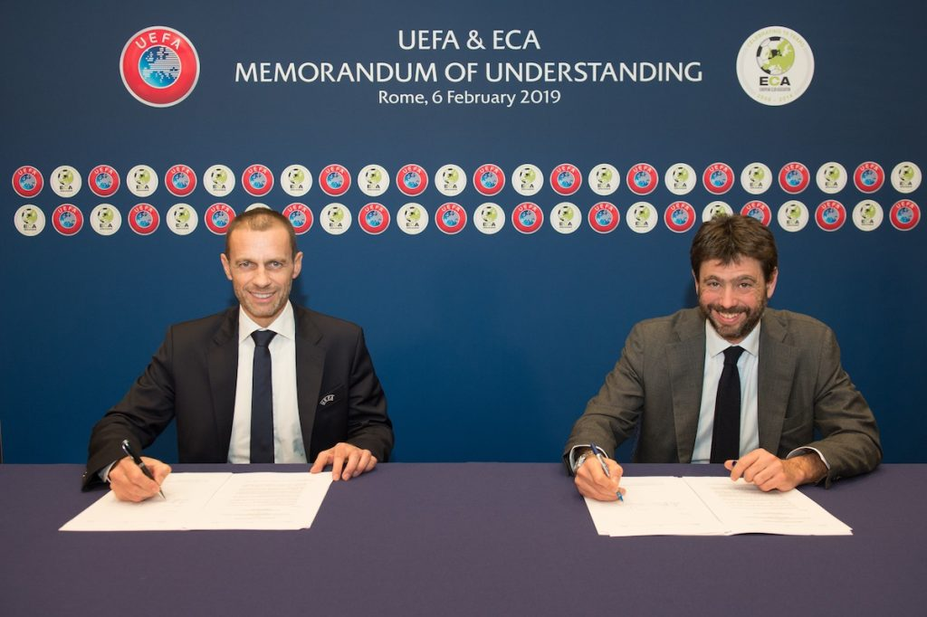 ROME, ITALY - FEBRUARY 06: UEFA President Aleksander Ceferin and ECA Chairman Andrea Agnelli signing a UEFA and ECA Memorandum of Understanding after the Executive Committee meeting at of the 43rd UEFA congress at hotel Cavalieri on February 6, 2019 in Rome, Italy. (Photo by Paul Murphy - UEFA)
