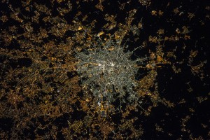 "This image of Milan was acquired after the transition to LED technology in the centre. The illumination levels appear to be similar or even brighter in the centre than the suburbs, and the amount of blue light is now much higher, which suggests a greater impact on the ability to see the stars, human health and the environment. Since the European Space Agency's NightPod device was installed on the ISS in 2012, astronauts have been taken systematic night images. It incorporates a motorised tripod that compensates for the station's speed and the motion of the Earth below. Before that motion could blur images even though astronauts compensated with high-speed films and manual tracking. In 2003, NASA astronaut Don Pettit's ""barn door tracker"" — a lower-tech precursor to NightPod using a motorised drill and assorted parts he accumulated on station — enabled the first motion-compensated night time imagery from the ISS. This image was taken by Samantha Cristoforetti."