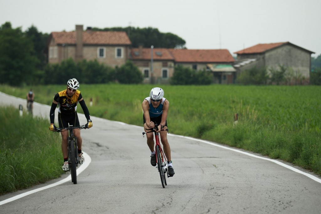 VENICE, ITALY - JUNE 05: Athletes compete during the biking course during the Challenge Triathlon Venice on June 5, 2016 in Italy. (Photo by Gonzalo Arroyo Moreno/Getty Images)