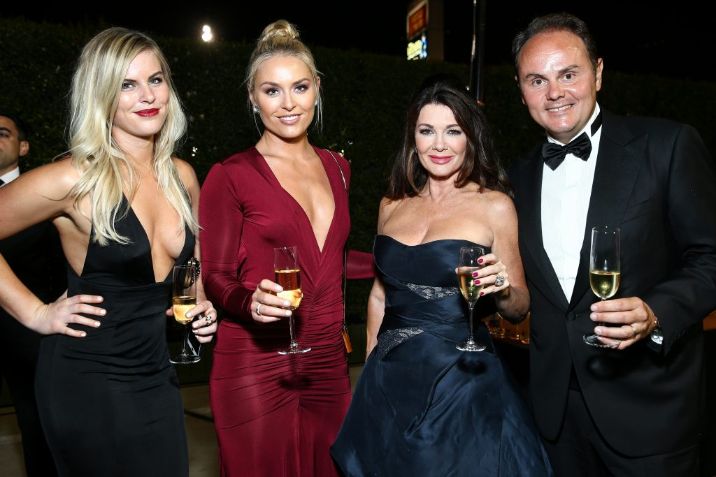 Karin Kildow, from left, Lindsey Vonn, Lisa Vanderpump and Ferrari president & owner Matteo Lunelli attend Ferrari at the 68th Primetime Emmy Awards Governors Ball held at the L.A. Convention Center on Sunday, Sept. 18, 2016, in Los Angeles. (Photo by John Salangsang/Invision for Ferrari/AP Images)